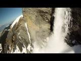 Падение со скалы с лавиной